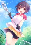 1girl :d antenna_hair bangs bike_shorts black_gloves black_hair blue_sky blush breasts clouds cloudy_sky dutch_angle eyebrows_visible_through_hair fang gloves hair_between_eyes highres holding kuroi_(liar-player) lacrosse lacrosse_stick leg_up looking_at_viewer medium_breasts moe2017 open_mouth original outdoors pink_eyes pleated_skirt short_hair short_sleeves shorts_under_skirt skirt sky smile solo standing standing_on_one_leg yellow_skirt