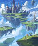 ame_sagari building clouds day floating_castle floating_island highres house no_humans original river rock scenery sky tree water