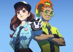 1boy 1girl alternate_costume black_gloves blue_background breasts brown_eyes brown_hair c_home collared_shirt crossed_arms d.va_(overwatch) dark_skin dark_skinned_male facial_hair female_service_cap glasses gloves goatee hairlocs long_hair lucio_(overwatch) necktie officer_d.va orange_hair overwatch parody police police_badge police_uniform policewoman round_glasses scrunchie shirt small_breasts uniform upper_body white_gloves zootopia
