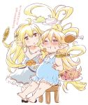 2girls barefoot big_belly blonde_hair blush charlotta_(granblue_fantasy) dress eating feeding granblue_fantasy hair_ornament holding long_hair looking_at_another melissabelle messy_hair multiple_girls one_eye_closed open_mouth pointy_ears simple_background sitting stool vee_(granblue_fantasy) very_long_hair wavy_hair white_background zanzi