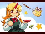 cat hat horn horns hoshiguma_yugi hoshiguma_yuugi long_hair red_eyes ribbon ribbons sakazuki star stars tdk touhou