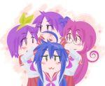 ahoge blue_hair blush chibi glasses hair_ribbon hairband hiiragi_kagami hiiragi_tsukasa izumi_konata lucky_star moco_(axion_channel) pink_hair purple_hair ribbon school_uniform serafuku star stars takara_miyuki