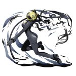 1girl ass black_gloves bodysuit breasts celty_sturluson cleavage divine_gate durarara!! full_body gloves head_tilt helmet holding holding_weapon medium_breasts official_art open_clothes scythe solo transparent_background ucmm weapon