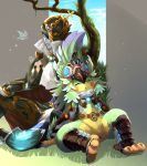 1boy 1girl armor bird claws crop_top detached_sleeves feather_hair feathers flat_chest fur_collar gem goggles goggles_on_head ibuki_(xenoblade) kubira_(xenoblade) long_hair long_sleeves monster_girl sleeping talons xenoblade xenoblade_2 yuki_(earth3128)