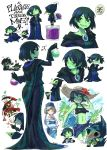 2boys 2girls blush brooch dress flower gloves green_eyes green_skin hat height_difference jewelry mona_(shovel_knight) multiple_boys multiple_girls plague_doctor_mask plague_knight potion sachy_(sachichy) shovel_knight specter_knight sun_hat sweat sweating_profusely swimsuit thought_bubble