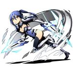 1girl black_legwear blue_hair blue_leotard boots bow breasts brown_eyes cleavage covered_navel date_a_live divine_gate eyebrows_visible_through_hair from_side full_body gloves groin hair_between_eyes hair_bow high_heel_boots high_heels leotard long_hair looking_at_viewer mecha_musume medium_breasts mole mole_under_eye one_leg_raised parted_lips ponytail runing shadow solo takamiya_mana transparent_background ucmm white_gloves
