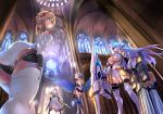 4girls aegis aegis_(persona) android antenna_hair armor armored_dress ass bare_shoulders blonde_hair blue_eyes blue_hair blue_wings boots breasts cannon church church_interior cleavage cleavage_cutout crossover dress dual_wielding feathered_wings floating_hair foreshortening from_below garter_straps gwendolyn headphones highres holding holding_staff holding_sword holding_weapon huge_weapon indoors knee_boots kos-mos large_breasts leaning_forward lenneth_valkyrie leotard long_hair medium_breasts multiple_girls negresco odin_sphere panties pantyshot pantyshot_(standing) pauldrons persona persona_3 red_eyes robot_joints short_dress short_hair silver_hair staff stained_glass standing sunlight sword thigh-highs tiara under_boob underwear valkyrie_profile weapon white_dress white_legwear white_panties winged_hat wings xenosaga