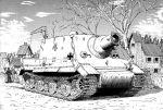absurdres caterpillar_tracks earasensha greyscale ground_vehicle highres house military military_vehicle monochrome motor_vehicle real_life self-propelled_gun sturmtiger tank tree turretless_tank