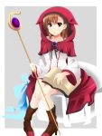 1girl alternate_costume bangs blue_background book boots brown_boots chair collarbone dress flower full_body hair_flower hair_ornament highres holding holding_book long_sleeves looking_at_viewer magician misaka_mikoto momoiro_tanuki outside_border parted_lips red_hood short_hair sitting solo staff to_aru_kagaku_no_railgun to_aru_majutsu_no_index white_dress
