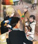 4boys ^_^ bag baguette black_hair blonde_hair blue-framed_eyewear blue_eyes bread cellphone closed_eyes coat cup drink drinking_glass drinking_straw earphones earphones food glasses green_eyes highres hood jacket katsuki_yuuri maehara_rie male_focus mug multiple_boys official_art open_mouth otabek_altin phone plate restaurant scan scan_artifacts shopping_bag silver_hair sitting smartphone smile sweater table tomato track_jacket turtleneck turtleneck_sweater viktor_nikiforov walking waving window yuri!!!_on_ice yuri_plisetsky