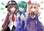 3girls :d ;d arm_around_shoulder black_hat black_skirt blonde_hair blue_eyes blue_skirt bow bowtie brooch brown_coat brown_eyes brown_hair coat collared_shirt commentary_request detached_sleeves dress e.o. fedora frilled_sleeves frills frog_hair_ornament green_hair hair_bow hair_ornament hair_ribbon hand_on_another's_shoulder hat hat_bow jewelry kochiya_sanae long_hair long_sleeves maribel_hearn mob_cap multiple_girls necktie one_eye_closed open_mouth purple_dress red_bow red_bowtie red_necktie ribbon shirt skirt smile snake_hair_ornament touhou trench_coat tress_ribbon usami_renko violet_eyes white_background white_bow white_hat white_shirt wide_sleeves