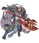 armor armored_boots axe boots brown_eyes brown_hair crusty_(log_horizon) full_armor gauntlets glasses hara_kazuhiro holding holding_weapon log_horizon official_art simple_background spaulders weapon white_background