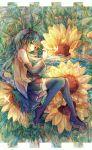 1girl aqua_hair bai_qi-qsr black_legwear butterfly detached_sleeves flower green_eyes hatsune_miku long_hair lying on_side sketch skirt solo sunflower thigh-highs twintails vocaloid