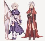 1boy 1girl armor armored_dress blonde_hair book bow braid cape capelet chains commentary_request cross fate/apocrypha fate_(series) flag full_body gauntlets green_eyes hair_bow headpiece highres holding holding_book kotomine_shirou long_hair long_sleeves looking_at_viewer open_mouth purple_bow purple_legwear red_cape ruler_(fate/apocrypha) single_braid smile spiky_hair thigh-highs very_long_hair white_hair wowishi yellow_eyes younger