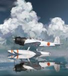 aircraft airplane artist_name clouds cloudy_sky dated e13a gun hjl imperial_japanese_navy machine_gun military military_vehicle no_humans ocean open_cockpit original pontoon propeller reflection seaplane shadow sky weapon world_war_ii