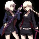 2girls ahoge belt black_background black_dress black_jacket black_shirt black_shorts blonde_hair breasts closed_mouth coat cowboy_shot cross cross_necklace dark_excalibur dark_persona dress eyebrows_visible_through_hair fate/grand_order fate_(series) fur-trimmed_coat fur_trim highres holding holding_sword holding_weapon jacket jeanne_alter jewelry looking_at_viewer medium_breasts multiple_girls necklace ponytail ruler_(fate/apocrypha) saber saber_alter shiguru shirt short_dress short_hair shorts small_breasts smile sword weapon yellow_eyes