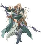 1boy armor armored_boots arrow blonde_hair boots bow_(weapon) floating_hair full_body hara_kazuhiro holding holding_weapon log_horizon long_hair official_art pointy_ears simple_background sntanding solo standing weapon white_background william_massachusetts yellow_eyes