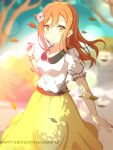 1girl autumn autumn_leaves birthday blurry bracelet breasts brown_hair dated depth_of_field english flower hair_flower hair_ornament happy_birthday highres jewelry kunikida_hanamaru leaves_in_wind long_hair love_live! love_live!_sunshine!! medium_breasts senguyen1011 skirt smile wind yellow_eyes yellow_skirt