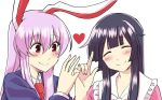 2girls ^_^ animal_ears bangs black_hair blazer blush bow closed_eyes commentary_request finger_gun head_tilt heart hime_cut houraisan_kaguya index_finger_raised jacket lavender_hair long_sleeves looking_at_another mana_(gooney) multiple_girls nail_polish necktie pink_nails pinky_swear purple_hair rabbit_ears red_eyes red_necktie reisen_udongein_inaba simple_background smile touhou white_background yuri