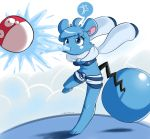 azurill blue_hair breasts female furry highres pokemon pokemon_(creature) shadowill shorts voltorb water
