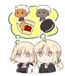 2boys 2girls :< :3 :p ahoge archer artist_request black_jacket black_shirt blonde_hair breasts chibi closed_mouth coat commentary_request cookie cross cross_necklace dark_persona dark_skin dark_skinned_male dog dual_persona emiya_alter empty_eyes expressionless eyebrows_visible_through_hair fate/grand_order fate_(series) food fur-trimmed_coat fur_collar fur_trim highres jacket jeanne_alter jewelry jitome long_hair low_ponytail medium_breasts multiple_boys multiple_girls necklace open_clothes open_jacket oreo pendant ponytail ruler_(fate/apocrypha) saber saber_alter shared_thought_bubble shirt short_hair simple_background solid_circle_eyes thinking thought_bubble tongue tongue_out upper_body very_dark_skin white_background white_hair wrapper yellow_eyes