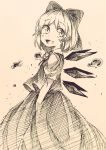 1girl :d ballpoint_pen_(medium) blush bow cirno collared_shirt droplets hair_bow highres ice ice_wings iiha_toobu long_hair monochrome open_mouth puffy_short_sleeves puffy_sleeves shirt short_hair short_sleeves sketch skirt skirt_set smile solo touhou traditional_media vest water wings