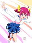 1girl :d ahoge blue_skirt blush double_bun highres hoshizora_miyuki necktie nii_manabu open_mouth outstretched_arms pink_eyes pink_hair pink_necktie precure school_uniform short_hair signature skirt smile smile_precure! socks solo