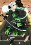 1girl armor armored_boots black_ribbon boots cherry_blossoms dual_wielding grey_eyes hair_ribbon hairband highres hiragana_(gomasyabu) holding holding_sword holding_weapon katana konpaku_youmu konpaku_youmu_(ghost) looking_at_viewer neck_ribbon outstretched_arms petals ribbon short_hair silver_hair solo stairs sword touhou weapon
