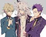 3boys blonde_hair closed_eyes dark_skin fate/apocrypha fate/extra fate/grand_order fate_(series) formal gawain_(fate/extra) green_eyes lancelot_(fate/grand_order) long_hair male_focus multiple_boys one_eye_closed purple_hair saber_of_black short_hair simple_background smile suit syubare white_hair