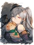 1girl bare_shoulders cat elbow_gloves gloves granblue_fantasy hat highres junwool mini_hat orchis red_eyes side_ponytail silver_hair stuffed_animal stuffed_toy