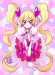 1girl 2015 blonde_hair bow closed_mouth cure_peach dated earrings finger_to_mouth fresh_precure! frilled_skirt frills hair_ornament heart heart_background heart_earrings heart_hair_ornament jewelry long_hair looking_at_viewer maboroshineko magical_girl momozono_love pink_background pink_bow pink_choker pink_eyes pink_skirt precure puffy_sleeves signature skirt smile solo twintails upper_body