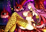 1girl absurdres armpits breasts bustier claws cleavage cleavage_cutout closed_mouth fate/grand_order fate_(series) gorgon_(fate) hair_intakes highres k_kung large_breasts legs_crossed long_hair looking_at_viewer monster_girl navel purple_hair red_eyes rider scales sitting slit_pupils smile snake solo stomach very_long_hair