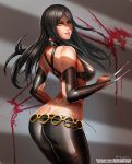 1girl ass badcompzero bare_shoulders black_hair blood breasts bridal_gauntlets butt_crack claws green_eyes grin long_hair looking_at_viewer looking_back marvel o-ring_belt pants smile solo thighs tight tight_pants x-23 x-men