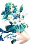 1girl 2017 bishoujo_senshi_sailor_moon blue_bow blue_eyes bow brooch character_name choker cropped_legs dated deep_aqua_mirror gloves green_choker green_hair green_shoes green_skirt happy_birthday jewelry kaiou_michiru long_hair magical_girl neptune_symbol pleated_skirt sailor_collar sailor_neptune shirataki_kaiseki shoes signature skirt smile solo super_sailor_neptune tiara white_background white_gloves