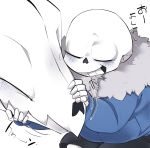 1boy 9999gpera blush closed_eyes gasterblaster grin hood hoodie petting sans skeleton smile teeth undertale