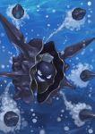 battle cloyster grin highres no_humans ocean pokemon pokemon_(creature) pokemon_(game) shell smile solo spikes teeth tesshii_(riza4828) underwater water