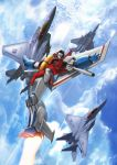 absurdres aircraft airplane arm_cannon clouds cybertron decepticon f-15 fighter_jet fleet flying highres insignia jet mecha military military_vehicle planet realistic robot science_fiction starscream thrusters transformers weapon zhuyukun