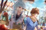 2boys bag bird boat brown_hair day earrings feather_earrings food fruit gloves green_eyes highres holding holding_fruit jewelry long_hair long_sleeves looking_at_another male_focus market mikleo_(tales) multiple_boys ocean open_mouth outdoors qitoli seagull sorey_(tales) standing sword tales_of_(series) tales_of_zestiria violet_eyes watercraft weapon