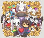 9999gpera alphys androgynous armor asgore_dreemurr asriel_dreemurr beard blue_skin blush brown_hair closed_eyes crown cup everyone extra_eyes eyepatch facial_hair flower flowey_(undertale) frisk_(undertale) glasses gloves grin hair_over_one_eye head_fins heart hood hoodie horns insect_girl mettaton mettaton_ex monster_boy monster_girl monster_kid_(undertale) muffet multiple_boys multiple_girls napstablook open_mouth papyrus_(undertale) ponytail redhead sans scarf sharp_teeth shirt short_hair shorts skeleton smile spider_girl striped striped_shirt striped_sweater sweater teacup teeth toriel undertale undyne yellow_skin