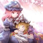 2girls blonde_hair blue_hat bow closed_eyes hair_bow hair_ribbon hat long_hair minust mob_cap multi-tied_hair multiple_girls on_lap pink_eyes pink_hair puffy_short_sleeves puffy_sleeves red_bow ribbon saigyouji_yuyuko short_sleeves sleeping sleeping_on_person touhou tress_ribbon triangular_headpiece white_hat yakumo_yukari yuri