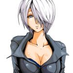 1girl angel_(kof) artist_request black_jacket breasts cleavage collarbone grey_eyes hair_over_one_eye jacket large_breasts looking_at_viewer parted_lips short_hair silver_hair solo the_king_of_fighters upper_body white_background