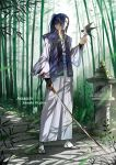 1boy assassin_(fate/stay_night) bamboo bamboo_forest bird bird_on_hand blood bloody_clothes bloody_hands bloody_weapon blue_hair character_name fate/stay_night fate_(series) forest full_body half-closed_eyes high_collar highres holding holding_sword holding_weapon japanese_clothes jun_ling nature ponytail profile solo stairs standing swallow sword tabi torn_clothes torn_sleeves waraji weapon wide_sleeves