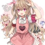 1girl apron arm_up arms_up bandages bangs bed blush bunny_hair_ornament camera closed_eyes commentary eyebrows_visible_through_hair fang hair_ornament hat heart highres holding holding_camera light_brown_hair long_hair multiple_views natori_sana nurse_cap open_mouth pink_apron pink_headwear pocket puffy_short_sleeves puffy_sleeves red_eyes retsuto sana_channel short_sleeves skin_fang thought_bubble two_side_up video_camera virtual_youtuber