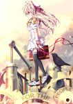 1girl bird black_legwear blonde_hair blush crow english gears hat key long_hair looking_away machinery original puffy_short_sleeves puffy_sleeves red_eyes red_ribbon ribbon shimesaba_kohada shoes short_sleeves sneakers solo text thigh-highs white_hat
