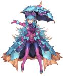 1girl aqua_hair bonnet bow bracelet breasts commentary_request dress elbow_gloves fangs frilled_dress frills gloves high_heels highres holding holding_umbrella jewelry katagiri_hachigou long_hair multicolored multicolored_eyes multicolored_hair open_mouth orange_hair personification pokemon purple_gloves purple_legwear sideboob simple_background solo toxapex umbrella white_background