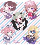 5girls blue_eyes bluebell_candy blush bodysuit branch bubble candy cape chibi cushion domino_mask dress flower food fukuroi_marika green_eyes hair_flower hair_ornament highres horns kyun_(vacaloid) magical_girl mahou_shoujo_ikusei_keikaku mahou_shoujo_ikusei_keikaku_jokers mahou_shoujo_ikusei_keikaku_limited mahou_shoujo_ikusei_keikaku_restart maou_pam mask masked_wonder multicolored_hair multiple_girls one_eye_closed petals red_eyes sharp_teeth short_hair skirt striped striped_background styler_mimi tail teeth two-tone_hair violet_eyes