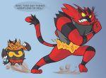 boneby emboar incineroar pig pokemon pokemon_(creature) pokemon_(game) pokemon_bw pokemon_sm running text tiger