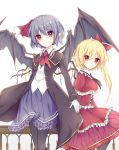 2girls alternate_costume alternate_headwear ascot banister bat_wings black_ascot black_legwear blouse blush bow brooch coat collared_dress crystal dress eyebrows_visible_through_hair fang_out flandre_scarlet formal frilled_dress frilled_skirt frills gloves highres jewelry lavender_hair lavender_skirt long_coat long_sleeves looking_at_viewer meuneyu multiple_girls no_hat no_headwear open_clothes open_coat pantyhose pointy_ears red_ascot red_bow red_dress red_eyes red_ribbon remilia_scarlet ribbon short_hair siblings side_ponytail sisters sitting skirt sleeve_cuffs smile touhou white_background white_blouse white_gloves wings