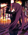 1girl black_jacket city city_lights cityscape fate/grand_order fate_(series) gae_bolg gloves highres jacket long_hair long_sleeves polearm purple_hair red_eyes road scathach_(fate/grand_order) solo spear street weapon