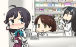3girls ahoge black_hair blush bow bowtie brown_hair commentary dated dress fujinami_(kantai_collection) hair_ribbon hamu_koutarou hatsushimo_(kantai_collection) headband highres kantai_collection labcoat long_hair low-tied_long_hair monitor multiple_girls pharmacy remodel_(kantai_collection) ribbon school_uniform shikinami_(kantai_collection) shirt sleeveless sleeveless_dress surgical_mask translation_request white_shirt yellow_eyes
